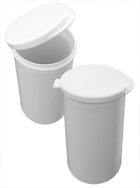 "4"" White Plastic Cylinder Container"