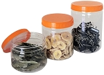 Clear Plastic Jars with Screw-On Lids